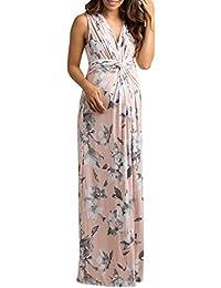 Women's Ruched Maternity Maxi Dress Twist Knot