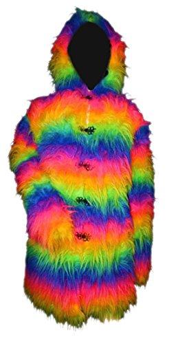 Multi Fourrure Peluche Avec Pour Veste Rainbow En Capuche Uv xSn5vnZ0wq