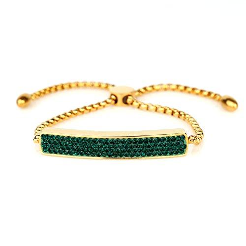 United Elegance Stylish Designer Bar Bracelet with Exquisite Sparkling Emerald Green Swarovski Style Crystals and Adjustable Bolo from United Elegance