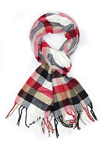 White Check Scarf (Achillea Classic Plaid Check Cashmere Feel Winter Scarf (White Plaid))