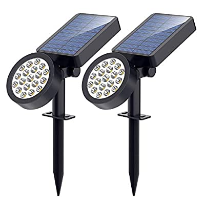 Solar Lights,19 LED Solar Spotlights-Waterproof Outdoor Adjustable Wall Light Landscape Light Security Lighting Dark Sensing Auto On/Off for Patio Lawn Pool Yard Garage Garden, Pack of 2