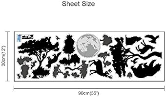 ufengke Black Jungle Forest Wall Decals Removable Vinyl Animals Wall Stickers Art Decor for Boys Bedrooms Living Room