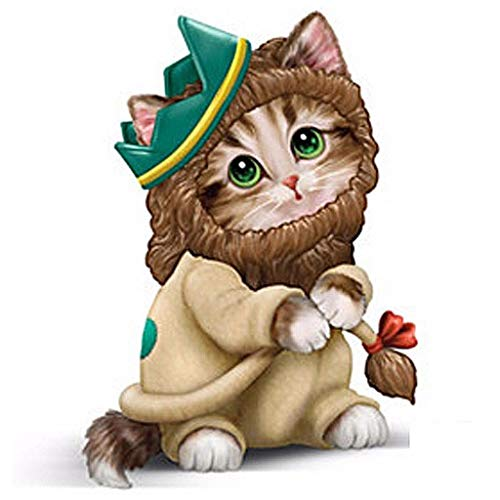 WENWING Cute Cat DIY 5D Diamond Painting Kit Embroidery Pictures Arts Craft DIY Crystal Needlework Full Drill Rhinestone Kit Cross Stitch for Home Wall Decor
