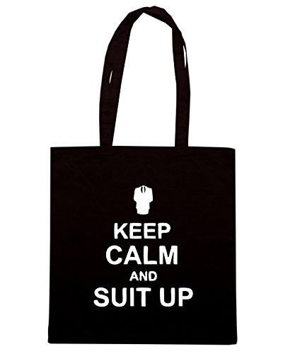 T-Shirtshock - Bolsa para la compra TR0085 Keep Calm and Suit Up 25mm 1 Pin Badge Barney Stinson How I Met Your Mother Negro