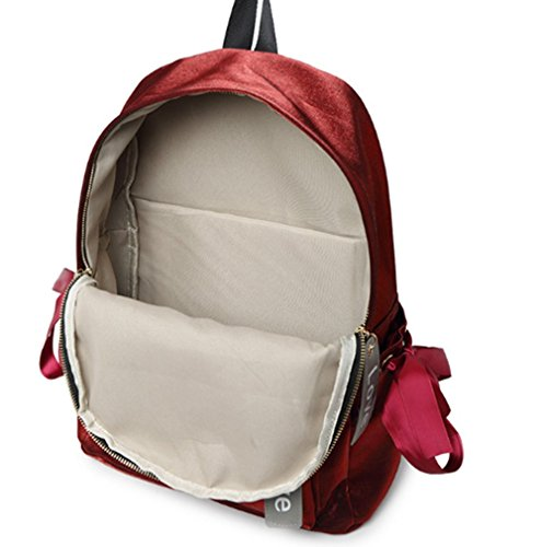 TOPSTORE01 Blingbling Mochila Junior High School Estudiantes De Viajes Al Aire Libre Para Niñas Rojo