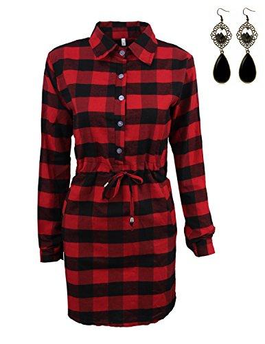 Sitengle Mujer Camisas de Vestidos Manga Larga Escocesa Blusas Tops T-shirt Rojo
