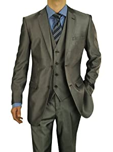 B00IB26LTI Darya Trading Modern Fit Men's Suit 2 Button Sharkskin Three Piece with Vest (40 Regular US / 34 Waist US, Taupe/Gray)