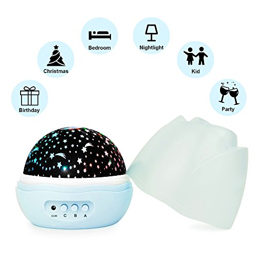 Halloween Lighting Ideas (Nasus Star Night Light, Winter Season Updated Version with 360 Degree Rotating Projector Rosebud Lamps 4 LED Bulbs 8 Lighting Mode Colorful Decoration for Baby Nursery Bedroom Gift for Kids (Blue))