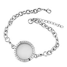 Christmas Gifts Sale Cheap Jewelry Round Floating Charm Locket Chain Silver Plated Glass Circle Magnetic Bracelet
