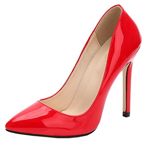 Femme Surdimensionné Talon Élégant Snone Talons Mode Escarpins De Rouge Été Fin Hauts Ol Épais Chaussures Party Cuir 4Fq77w5