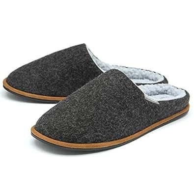 Dunlop Mens Slippers Slip On Mule Faux Fur Lined Felt Memory Foam Sizes 7-12 Dark Grey