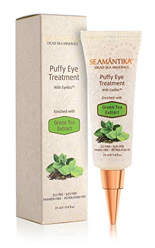 Puffy Eyes Treatment Instant results - Naturally Eliminate Wrinkles, Puffiness, Dark Circle and Bags in Minutes - Hydrating Eye Cream w/Green Tea Extract, Dead Sea Minerals by SEAMANTIKA - .8 oz (Best Filler For Under Eye Bags)