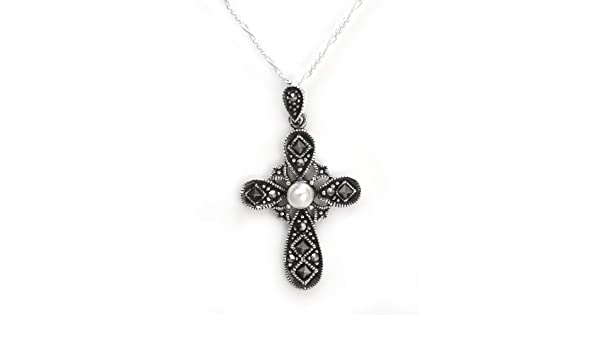"""Sterling Silver Cross with Swirls Pendant Charm 1/"""" wide"""