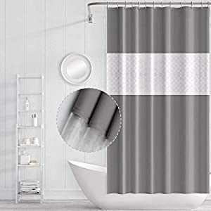 Funria Shower Curtain Bathroom Curtains Waterproof Mildew Resistant Mold Resistant Antibacterial Bath Curtains with Hooks Bathroom Accessories, 180 X 200CM (Spliced Gray)