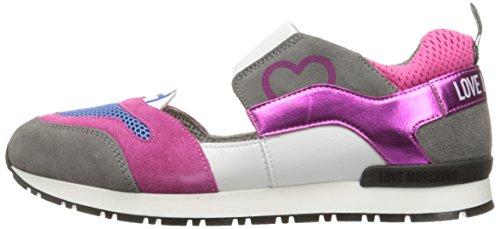 Love Moschino Women's Cut-Out Logo Running Shoe Fashion Sneaker, Fuchsia/Grey/Blue, 37 EU/7 M US by Love Moschino (Image #5)