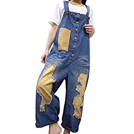 YESNO P08 Women Jeans Cropped Pants Overalls Jumpsuits Holed Distressed Letter Print Casual Loose Fit