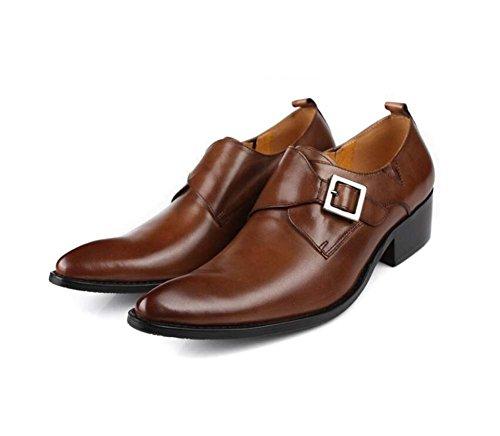Hombres Europea con para Hebillas de Yardas Zapatos Color 38 37 Punta Marrón Zapatos de Edición Negocios de Boda con Zapatos Tamaño qnwYq7Cvt