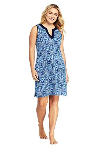 (Lands' End Women's Plus Size Cotton Jersey Sleeveless Tunic Dress Swim Cover-up Print, 1X, Deep Sea/Galaxy Blue Mosaic)