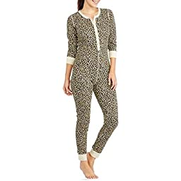 Fruit of the Loom Women\'s Waffle Thermal Union Suit, Natural Animal Print, X-Small/Small