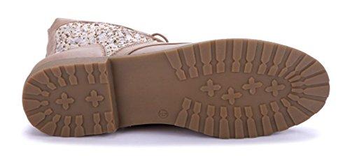Schuhtempel24 cm Stiefeletten Stiefel Damen Flache Khaki Schuhe 2 Ziersteine flach Boots rC4rzq