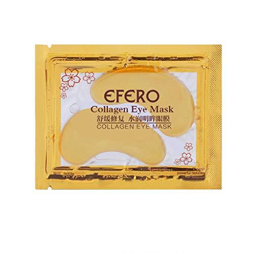 (Lemoning❤ New Crystal 24K Gold Powder Gel Collagen Eye Mask Masks Sheet Patch 1 Pcs)