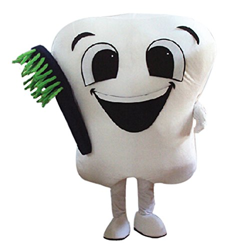 White Tooth Mascot Costume Cartoon Halloween Party Dress Adult -