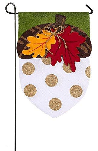 Evergreen Burlap Acorn Glitter Accented Garden Flag, 12.5 x 18 inches