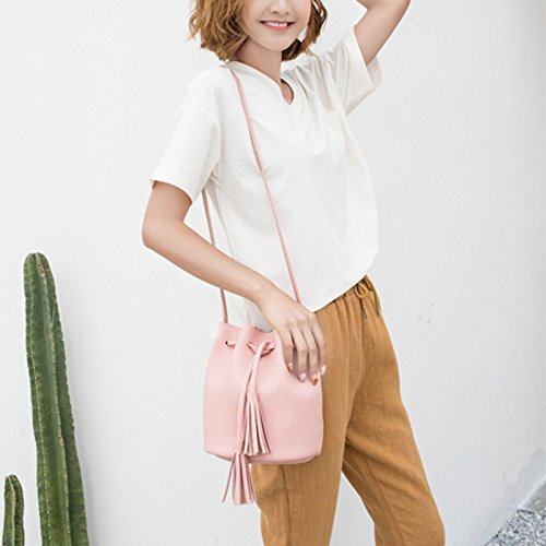 Lichtblauw For Bag Cube Zwart Met Crossbody Bag Kwastje Woman koord Mini yo 21cm Emmer 17 Vi Pu Retro Messenger ZqtpIn