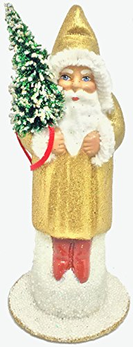 - Pinnacle Peak Trading Company Ino Schaller Golden Shimmer Santa German Christmas Paper Mache Candy Container