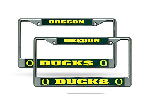Rico Oregon Ducks NCAA Chrome Metal (2) License Plate Frame Set