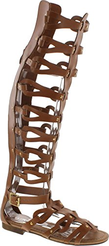 Forever Atta Alyssa 17 Womens Knee High Caged Gladiator Strappy Flat Sandals Tan,Tan,8 -