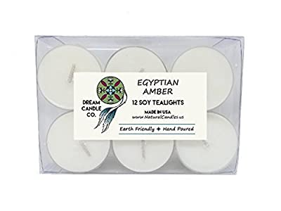 Egyptian Amber Scented Soy Tealights - 12 Count Box - Handmade White Vegan Candles - Hand Poured