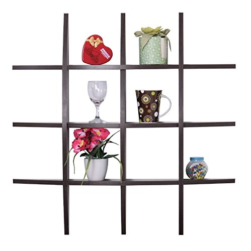 Floating Wall Shelf Display Unit - Wood Hanging Knick Knack Shelving in Espresso (Kitchen Wall Shelf Unit)