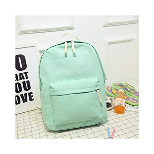 Yougao Casual Canvas Daypack Shoulder Bag School Backpack Bookbags One Size Mint Green