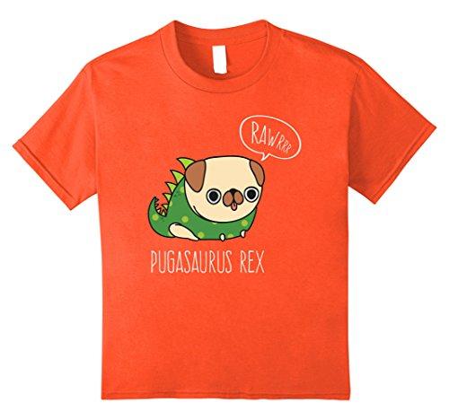 Kids Funny Pug Halloween Shirt Pugasaurus Rex Costume 12 Orange