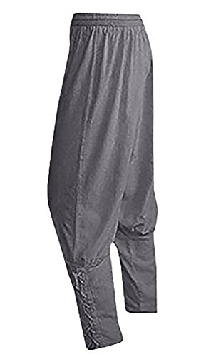 Mens Gypsy Pants Baggy Tapered Banded Trousers Medieval Viking Grey Renaissance Costumes