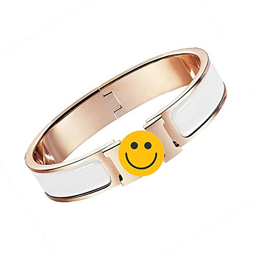 (NIMUVIS Womens Fashion Titanium Steel Bracelets Buckle Bangle Love Bracelet Enamel Bracelet Jewelry for Women (White/Rose Gold 6.7in))