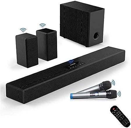 Feliz barra de sonido, TV barra de sonido con subwoofer, 200W 2.1 Barra de sonido, conexión de cable inalámbrico Bluetooth 4.1 Altavoz de TV HDMI/Aux/USB, Bajo ajustable de sonido envolvente de ci: