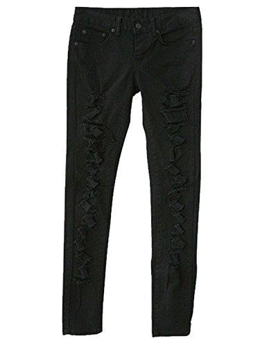 Burvogue Mujer Azul Denim Jeans Skinny pantalones de envejecido negro