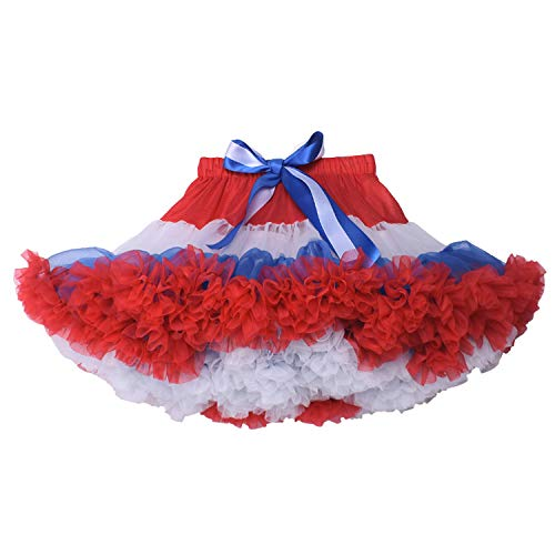 URVIP Baby Little Girl Tiered Tulle Pleated Tutu Skirt Princess Dance Pettiskirt Red White and Blue M]()