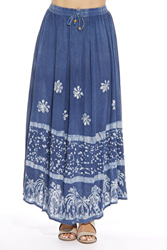 Riviera Sun 21741-DDNM-L Skirt/Skirts for Women Dark Denim/White