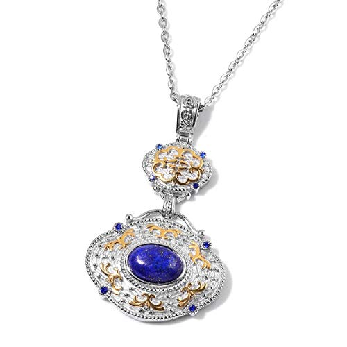 "Shop LC Delivering Joy Lapis Lazuli Crystal Pendant Necklace 20"" in ION Plated Yellow Gold and Stainless Steel Gift Jewelry for Women"