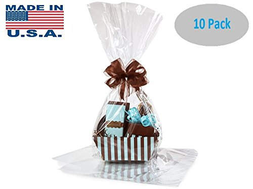 10 Pack Flat Large 18 In X 30 In Clear Cellophane Bags Gift Basket Bags Cello Gift Bags