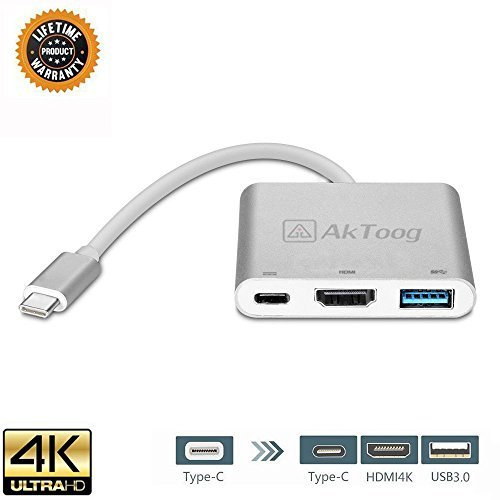 USB C to HDMI 3-in-1 Adapter Digital AV Multiport Adapte USB 3.1 Type C With USB 3.0 Port and USB-C Recharging Portcable Aluminum Housing Supports 4K for Macbook,Chromebook,Pixel Dell USB-C Devices