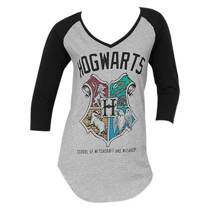 Harry Potter Hogwarts Crest V-Neck Raglan (Medium) -