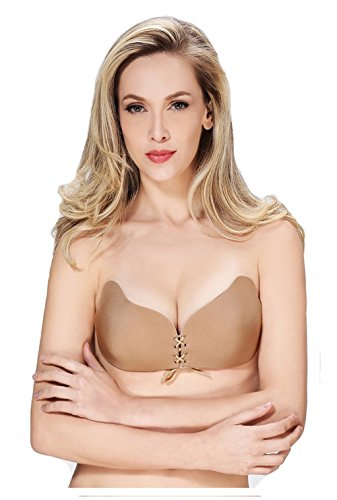 Butterfly Cellophane (ALLMILL Women's Strapless Bra Self Adhesive Wing Shape Silicone Push Up with Drawstring (CUP B, Nude))