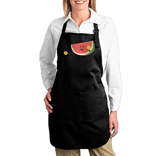 Belly Dance Costumes Sewing Patterns (Dogquxio Dancing Watermelon Kitchen Helper Professional Bib Apron With 2 Pockets For Women Men Adults Black)