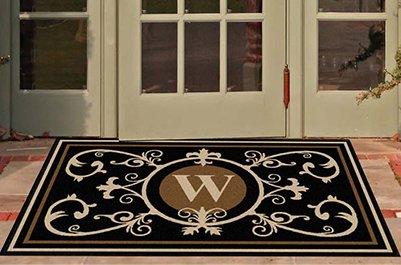 Edinburgh Estate Doormat - Monogrammed Black & Suede W 3 x (Black Suede Mat)