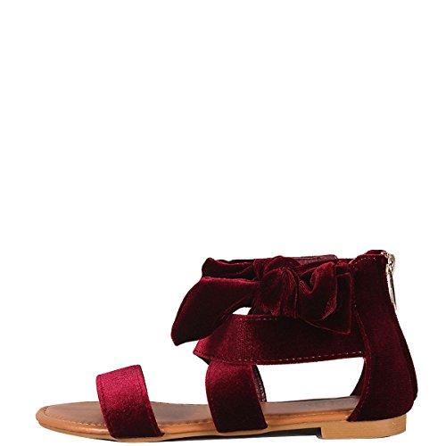 Donne Di Bambù Open Toe Criss Cross Strappy Arco Cinturino Alla Caviglia Posteriore Cerniera Gladiatore Sandalo Piatto Bordeaux