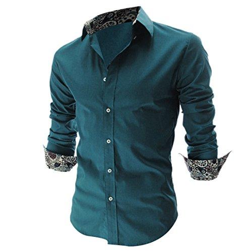 Vshop-2000 Men's Point Collar Long Sleeve Paisleys Shirt